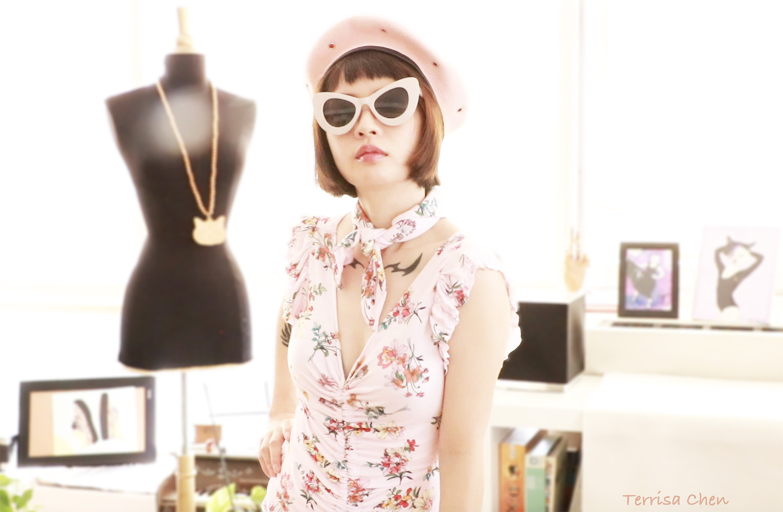 girl poses in a DIY pink floral dress
