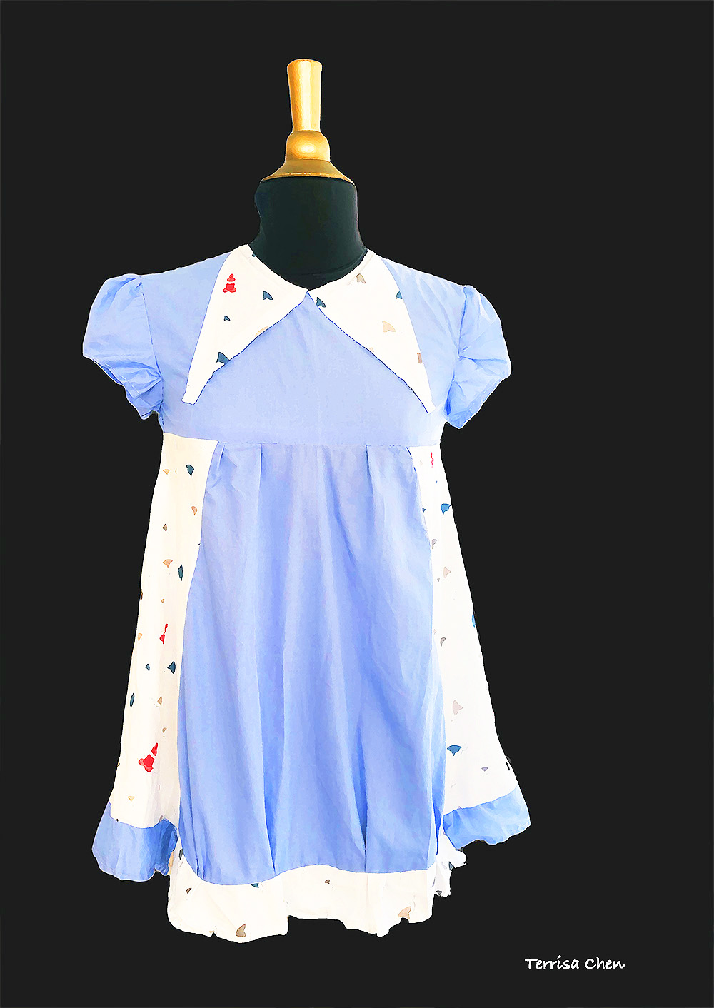 blue baby doll dress front